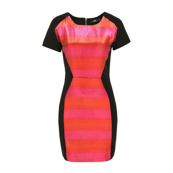 Markus Lupfer Women's DR372 Contrast Stripe Dress - Orange, Pink & Black