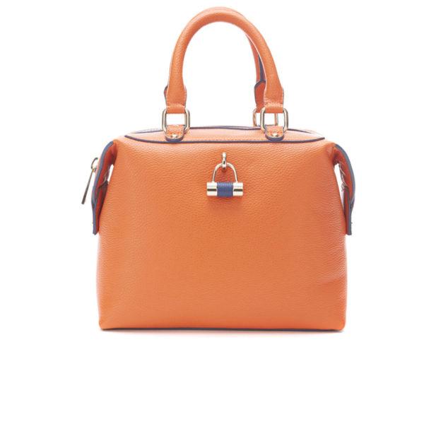 Paul's Boutique Women's Violet Block Colour Padlock Mini Bowler Bag - Orange