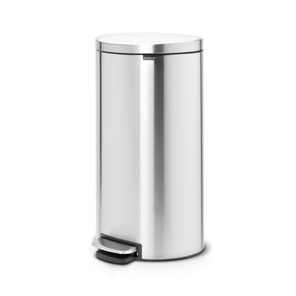 Brabantia 30 Litre Fingerprint Proof Flatback Space Saving Silent Pedal Bin - Matt Steel