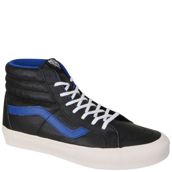 ce361a75ed7a Vans Sk8-Hi Top Leather Trainers - Black   True Blue - Free UK Delivery  over £50