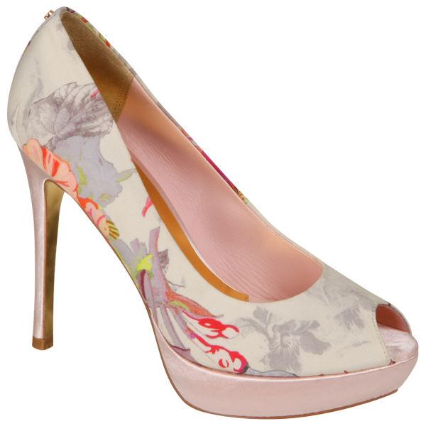 Ted Baker Women s Fluuri Peep Toe Platform Heels - Light Pink Multicoloured  Satin  Image 2723744733