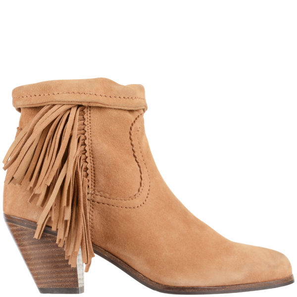 Sam Edelman Women's Louie Fringed Suede Ankle Boots - Whiskey