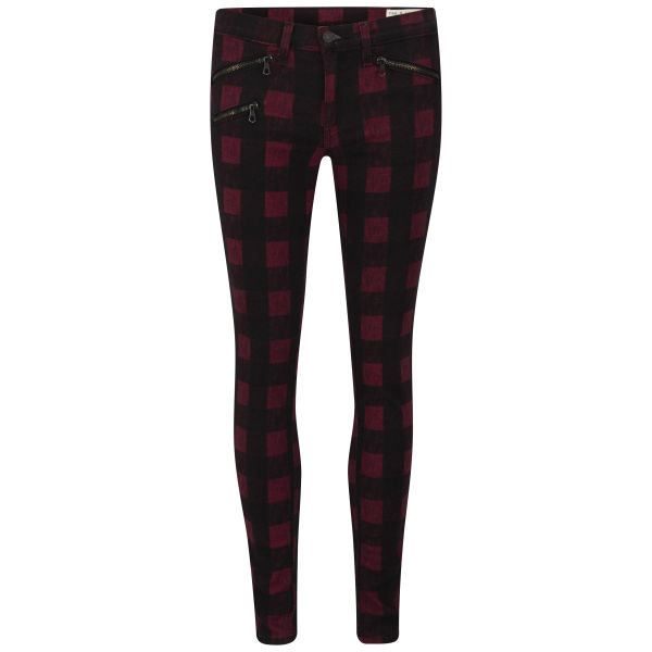 rag & bone Women's RBW23 Skinny Mid Rise Plaid Jeans with Zips - Red Buffalo