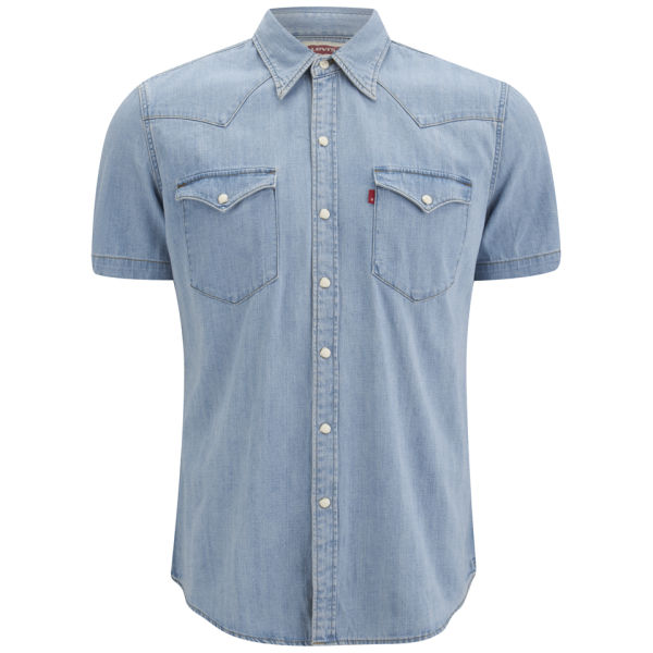 Levi 39 s men 39 s short sleeve slim fit barstow western shirt for Mens fitted short sleeve shirts