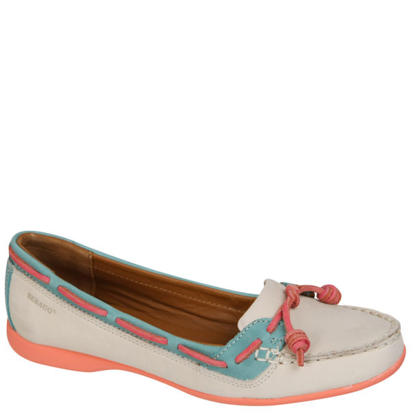 Sebago Women's Felucca Lace Boat Shoes - Ivory/Teal Blue
