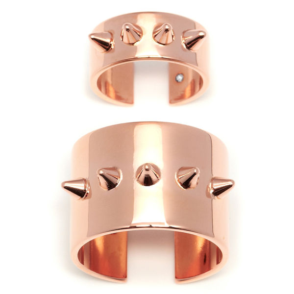 Maria Francesca Pepe Set of Midi Rings with Spikes - Rose Gold