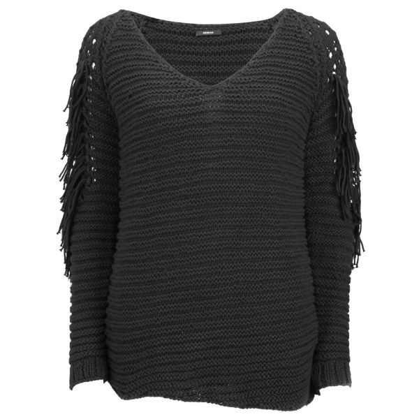 Denham Women's Fringed Asymmetric Jumper - Black