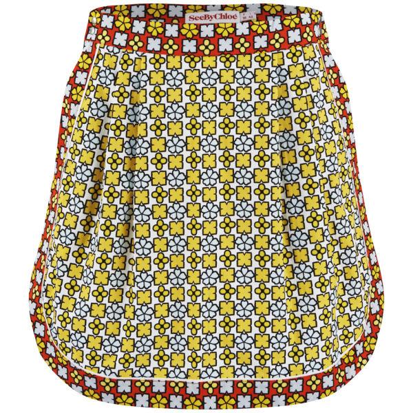 See by Chloe Women's Geometric Flower Printed Skirt - Multi