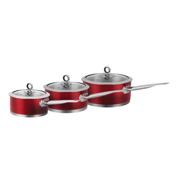 Morphy Richards 46391 3 Piece Saucepan Set - Red - 16/18/20cm