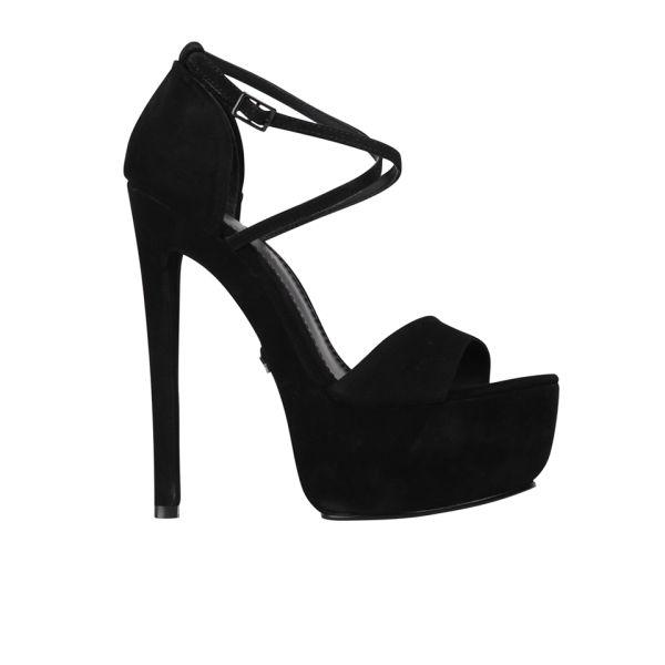 7bb3d13029 KG Kurt Geiger Women's Nanette Suede Heeled Platform Sandals - Black: Image  1