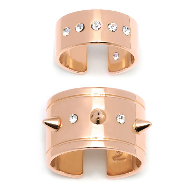 Maria Francesca Pepe Set of Spiked/Swarovski Crystal Band and Midi Rings - Rose Gold