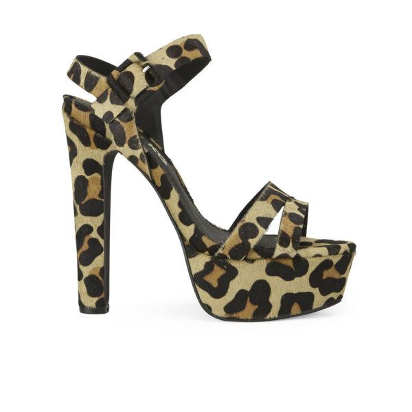 Miss KG Women's Echo Leopard Printed Pony Platform Heeled Sandals - Tan