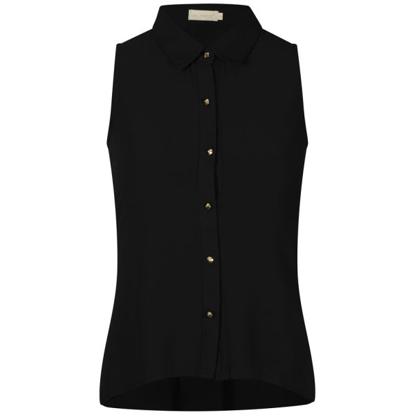 Nova Women's Sleeveless Chiffon Blouse With Button Back Detail - Black