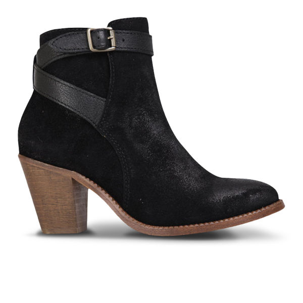 H Shoes by Hudson Women's Lewknor Suede/Leather Heeled Ankle Boots - Black