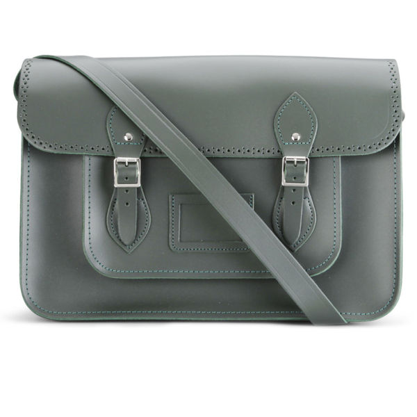 The Cambridge Satchel Company 15 Inch Season Brogued Leather Satchel - Dark Olive