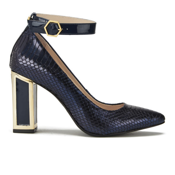 288865adf6 Kat Maconie Women s Priscilla Block Heeled Snake Metallic Leather Court  Shoes - Navy