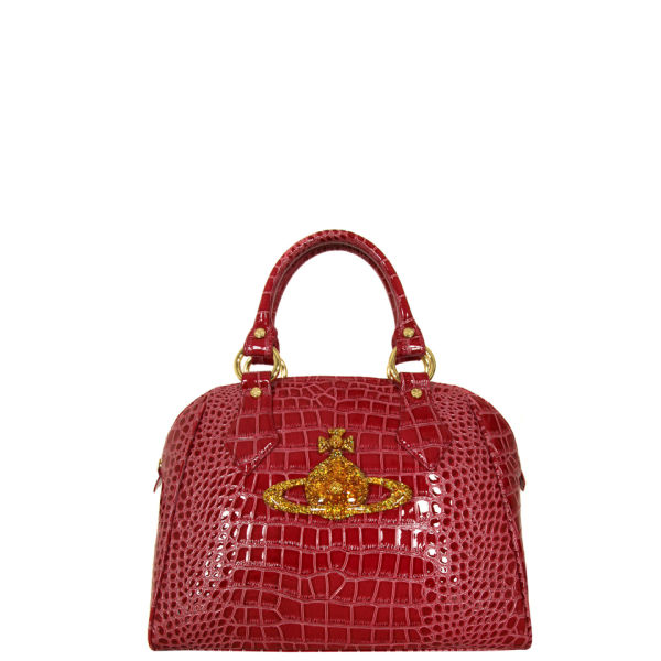 Vivienne Westwood - Accessories Women's 5815 Chancery Large Croc Finish Dahlia Bag - Red Pink