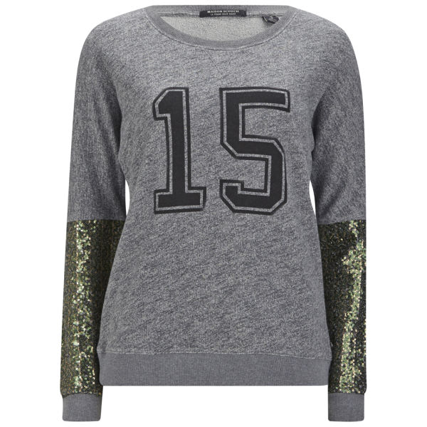 Maison Scotch Women's Special College Sequin Sleeve Sweatshirt - Grey