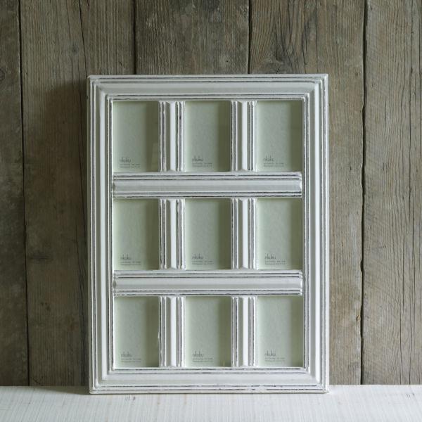 Nkuku Manyara Antique White Wooden 9 Window Frame - 4x6 Inches ...