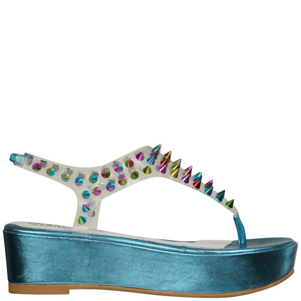 Jeffrey Campbell Women's Neptune Spiked Flatform Sandals - Turquoise