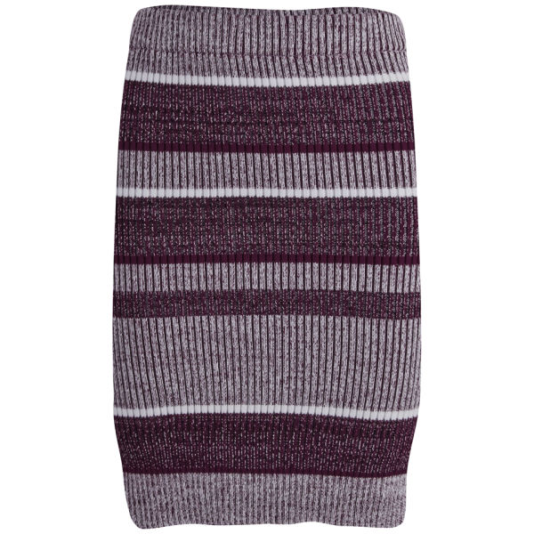 T by Alexander Wang Women's Rib Knitted Pencil Skirt - Bordeaux
