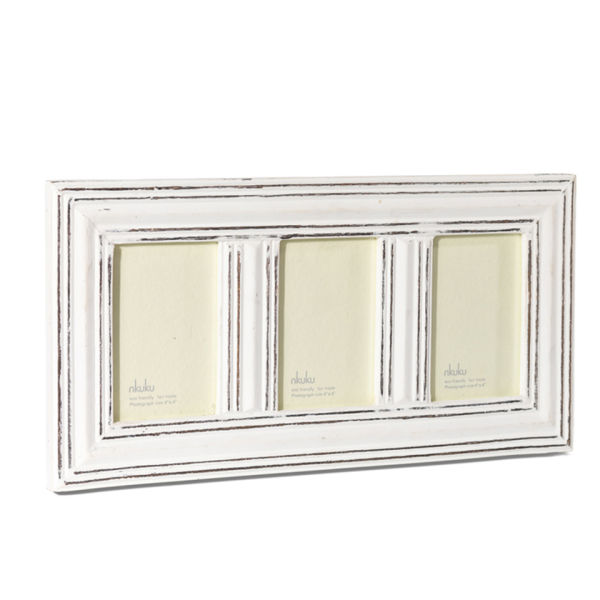 nkuku manyara antique white wooden 3 window frame 4x6 inches homeware. Black Bedroom Furniture Sets. Home Design Ideas