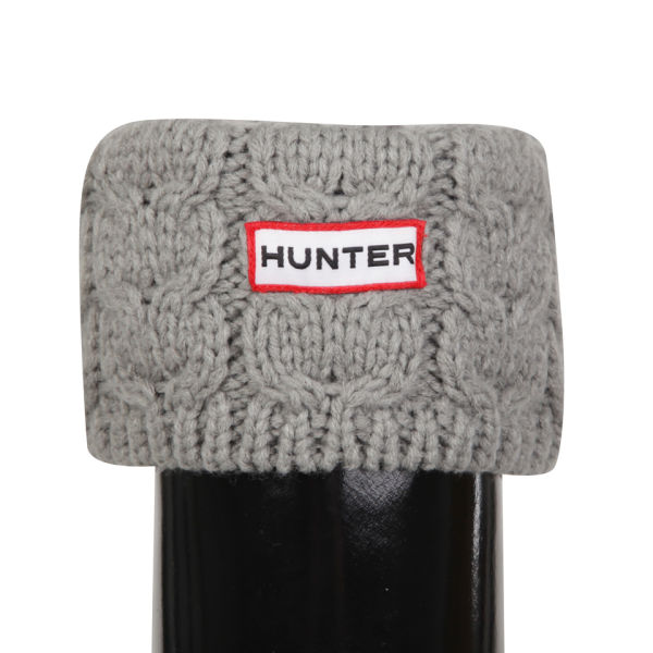 Hunter Unisex Chunky Cable Cuff Welly Socks - Soft Grey
