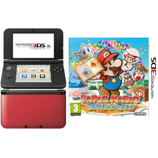 nintendo 3ds xl console red and black bundle includes. Black Bedroom Furniture Sets. Home Design Ideas