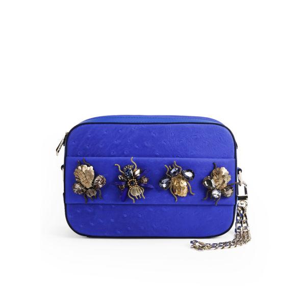 Matthew Williamson Women's Amelia Bejeweled Hand Through Leather Clutch/Cross Body Bag - Persian Blue
