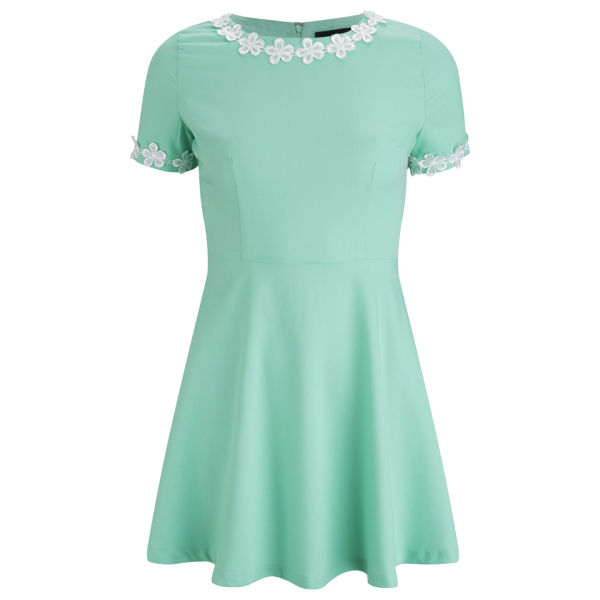 AX Paris Women s Flower Trim Skater Dress - Mint Womens Clothing ... 5df003363b