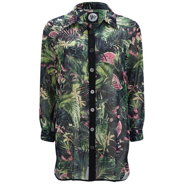 We Are Handsome Women's Jungle Fever Silk Button Up - Blue