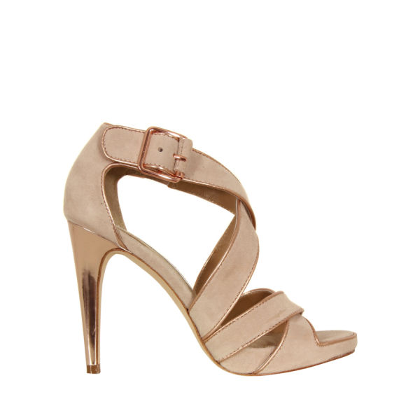 Diane von Furstenberg Women's Jodi Suede Sandals - Nude and Rose Gold