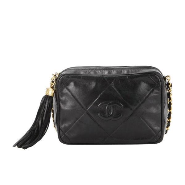 Chanel Vintage Fringe Quilted Leather Shoulder Bag - Black