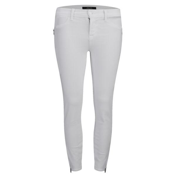 J Brand Women's TALI Crop Zip Mid Rise Skinny Jeans - White