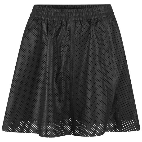Gestuz Women's Haiku Perforated Leather Skirt - Black