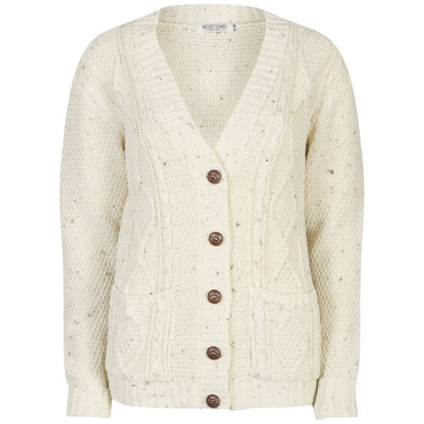 Moku Women's Long Sleeve Cable Knit Cardigan - Cream Nep | IWOOT