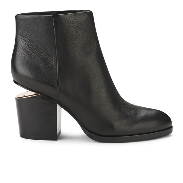Alexander Wang Women's Gabi Leather/Rose Gold Hardware Ankle Boots - Black