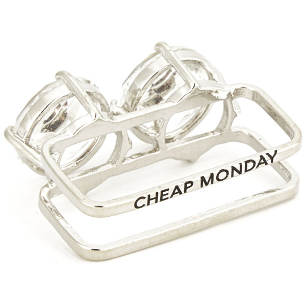 cheap monday s wow 2 finger ring silver