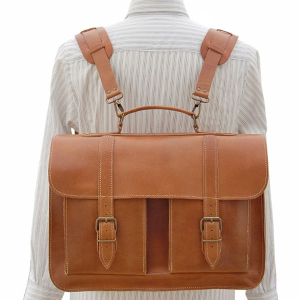 Grafea Postwar Leather Backpack Briefcase  - Caramel