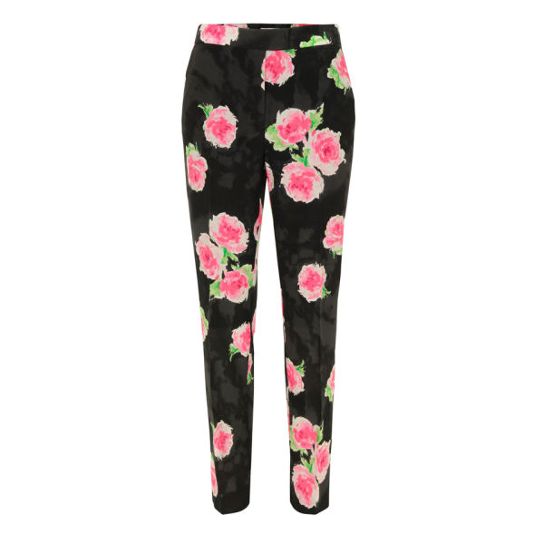 Moschino Cheap and Chic Women's J0311 Silk Rose Print Trousers - Black/Multi