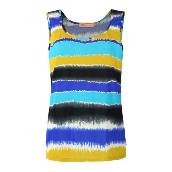 MW Matthew Williamson Women's Dipped Stripe Vest - Turquoise