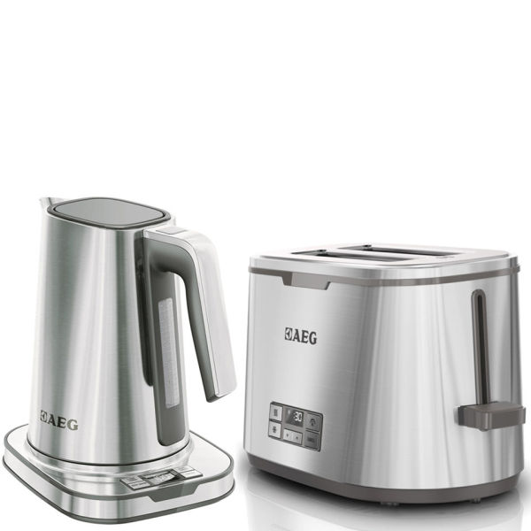 Aeg series 7 toaster and kettle bundle stainless steel for Kitchen set kettle toaster