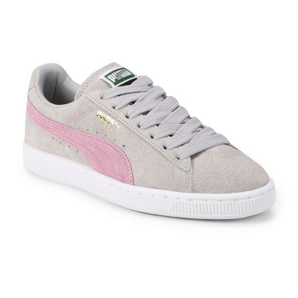 gray and pink puma shoes