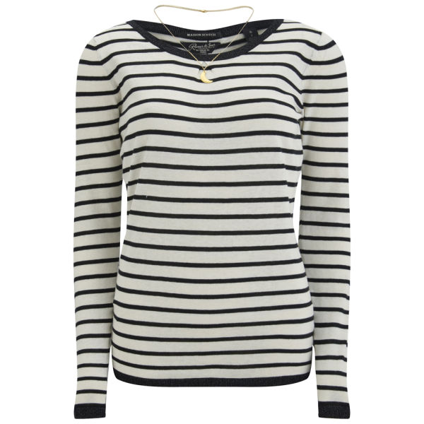 Maison Scotch Women's Elbow Patch Jumper - Black/White