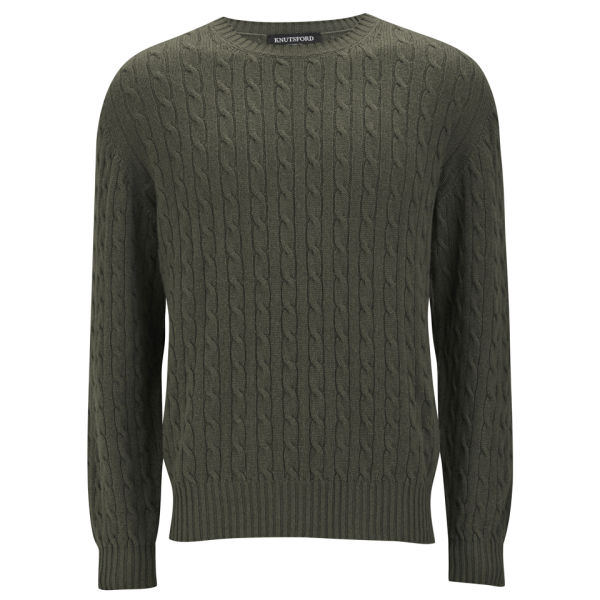 Knutsford Mens Cashmere Cable Knit Sweater Khaki Free Uk