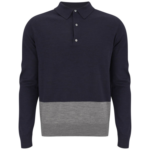 Hardy Amies Men's Merino Knitted Long Sleeve Polo Shirt - French Navy