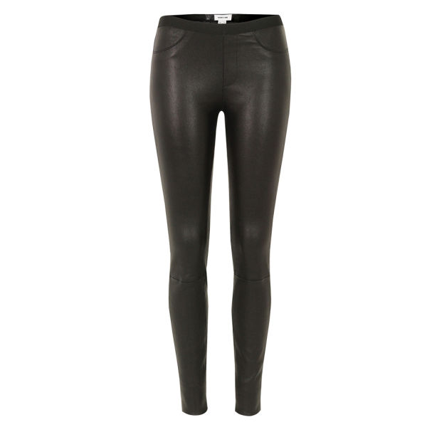 Helmut Lang Women's Stretch Plonge Leather Leggings - Black