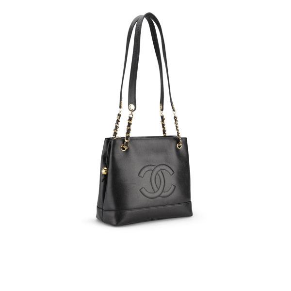 7e851f00a0f8 Chanel Vintage Black Caviar Leather Shoulder Tote Bag - Black: Image 2