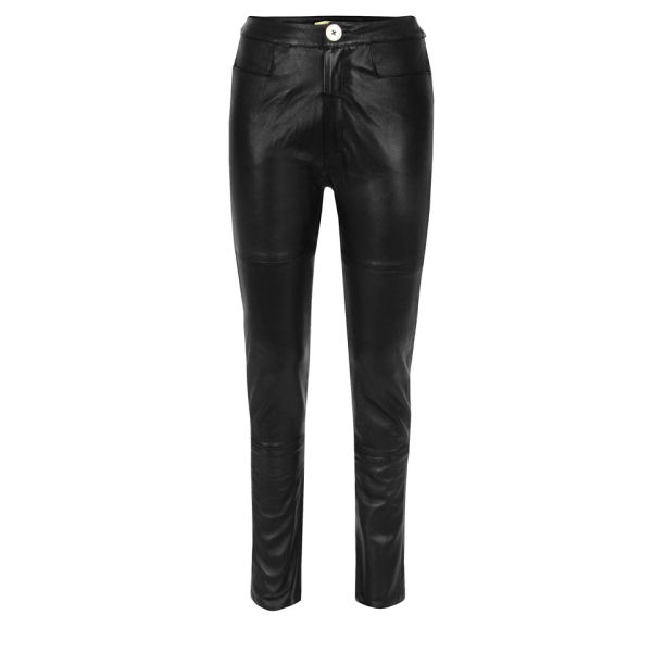 Bolzoni & Walsh Women's Leather Drainpipe Trousers - Black