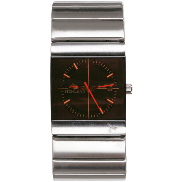 henleys mens chunky silver square black dial bracelet watch henleys mens chunky silver square black dial bracelet watch